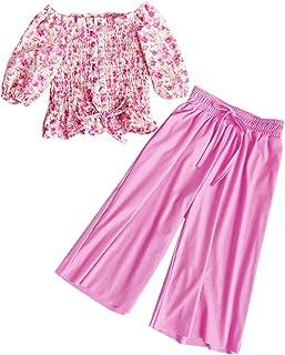 Toddler Kids Little Girls Summer Outfits Floral Ruffle Crop Top Shirt + High Waist Bowknot Pants 2 PCS Clothes Set 2-7T