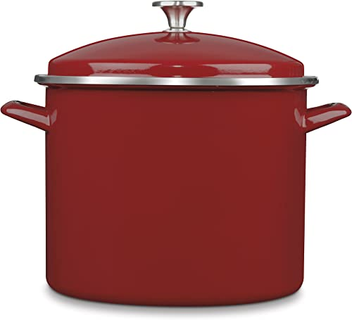 popular Cuisinart Chef's Classic Enamel on new arrival Steel Stockpot with outlet sale Cover, 12-Quart, Red sale
