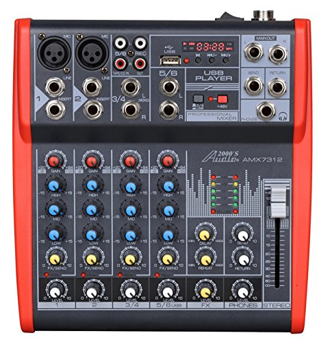 Buy Audio2000'S AMX7312-Professional Six-Channel Audio Mixer with USB and DSP Processor (AMX7312)