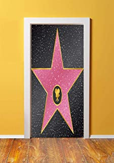 Popstar Party 3D Door Sticker Wall Decals Mural Wallpaper,Hollywood Walk of Fame Symbol Celebrity Entertainment Culture,DIY Art Home Decor Poster Decoration 30.3x78.5322,Charcoal Grey Pale Pink