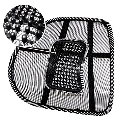 PrimeTrendz Black Lumbar Mesh Back Brace Support Office Home Car Seat Chair Ventilate Cool Cushion Pad with Massage | Breathable, Massage Beads for Ultimate Comfort (1 Piece)