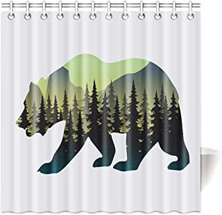 TSlook Shower Curtain Polyester Bear Silhouette Pine Forest Tree 60