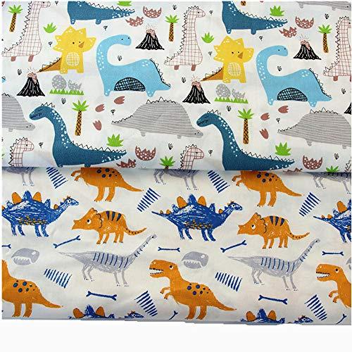 FUYA - Tela de algodón para patchwork, diseño de dinosaurios azules, 160 cm x 100 cm, 2 piezas, hecho a mano, para costura, ropa de bebé y niños