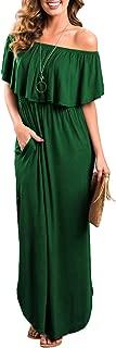 Womens Off The Shoulder Ruffle Party Dresses Side Split Beach Maxi Dress