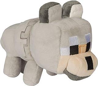 Minecraft 8138 Happy Explorer Untamed Wolf Plush Toy, Grey/Grey