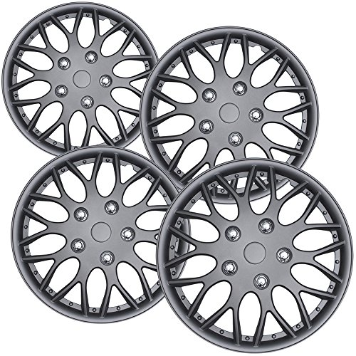 Hubcaps 16 inch Wheel Covers - (Set of 4) Hub Caps for 16in Wheels Rim Cover - Car Accessories Gun Metal Hubcap Best for 16inch Cars Standard Steel Rims - Snap On Auto Tire Replacement Exterior Cap