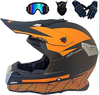 Motocross Helm Schwarz und Orange, Pro Motorrad Crosshelm mit Brille Fullface MTB Helm Off Road DH Helm Mopedhelm Motorradhelm Sicherheit Schutz S,M,L,XL