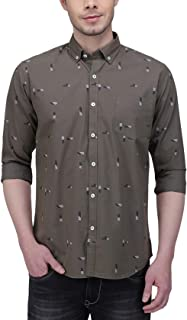Southbay Olive Cotton Printed Casual Shirt for Men