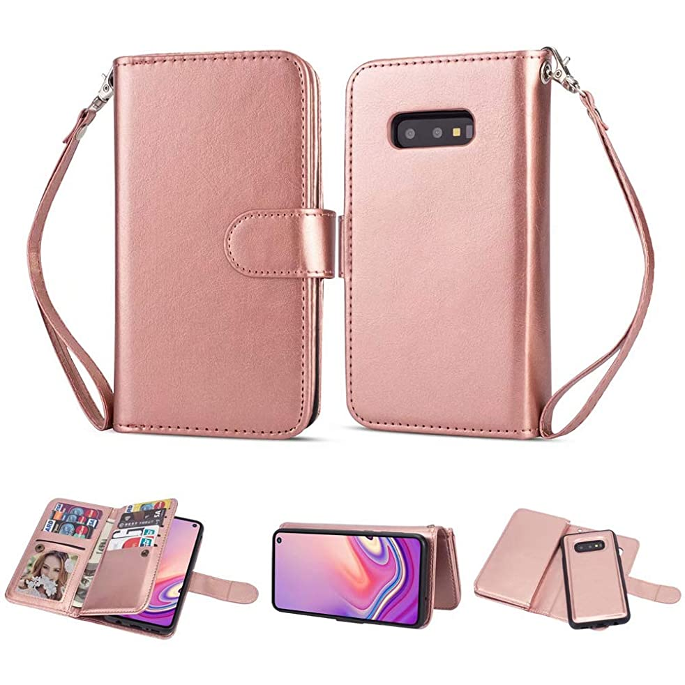 Galaxy S10e Wallet Case [2-in-1] Detachable Magnetic Slim Back Cover Leather PU Shell Heavy Duty Dual Protection Phone Case +Wristband+ Card Holder for Samsung S10e 5.8