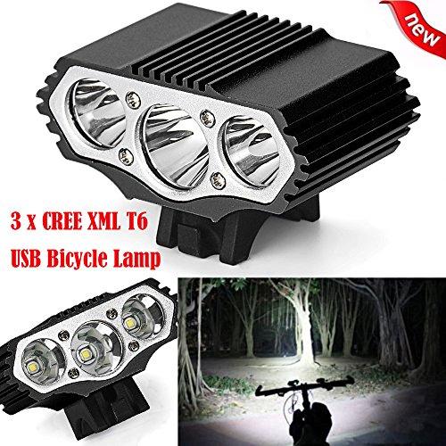 FENSIN Taschenlampe LED Torch 12000 Lm 3 x XML T6 LED 3 Modi Fahrradlampe Fahrradlicht Scheinwerfer Radfahren Taschenlampe für Outdoor Jagd Camping Wandern
