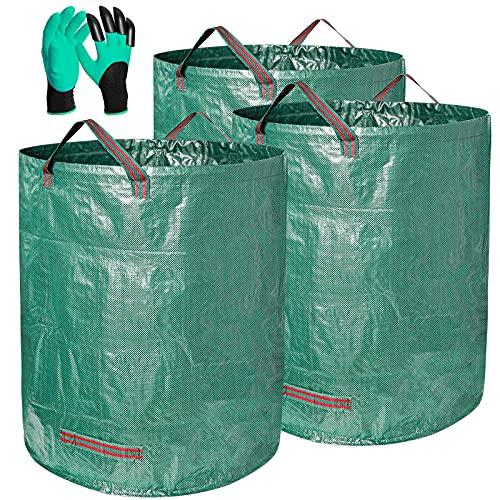 Gartenabfallsack, 3er Pack 272L Wasserdichter Gartensack Strapazierfähiger Wiederverwendbarer Laubsack mit Griffen Selbststehende & Faltbare gartenabfallbehälter mit 1 Paar Gartenhandschuhen