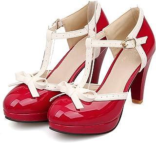 78b2e2d953ed3 Lucksender Fashion T Strap Bows Womens Platform High Heel Pumps Shoes