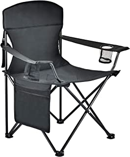 Sanny Large Camping Chair Steel Frame Folding Chair Portable Freestyle Seat with Storage Pockets, Cup Holder and Carry Bag for Beach Fishing Tailgating Outdoor Watching Sports - Black