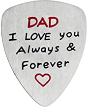 Dad I Love You Forever And Always Stainless Steel Guitar Pick Gift for Daddy Papa Father