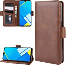 For Oppo A1k / Realme C2 Double Buckle Crazy Horse Business Mobile Phone Holster with Card Wallet Bracket Function New(Black) Wangyyy (Color : Brown)