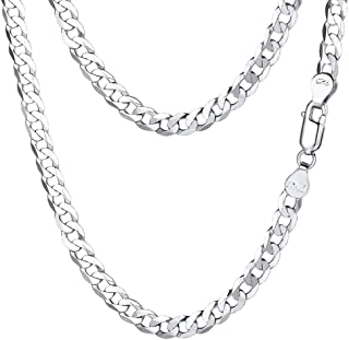 "PROSTEEL 925 Sterling Silver Cuban Link Chain/Rope Chain, Solid Silver Necklace for Men Women,14""/18""/20""/22""/24""/26""/28"",..."