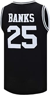 SPPOTY Mens #25 Carlton Banks Basketball Jersey 90S Hip Hop Clothing for Party