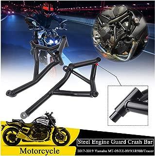 FATExpress Motorcycle Flat Black Steel Stunt Slider Cage Engine Guard Highway Crash Bar Crashbar Frame Protector for 2017 2018 2019 Yamaha MT FZ 09 MT09 FZ09 MT-09 FZ-09 XSR900 Tracer
