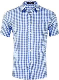 Men Polka Dot Chambray Hawaiian Shirt Aloha Homespun Cotton Dress Slim Casual