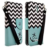 MICROSEVEN Compatible Alcatel onetouch Pop Astro 5042T Case Cover, Magnetic Leather Flip Wallet Case with Card Slots Cash Compartment (Teal Anchor)