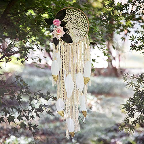 TEESHLY Boho Dream Catchers with White Gold Feather Handmade Dreamcatchers with Flowers for Wall Hanging Decoration, Wedding Decoration Ornament