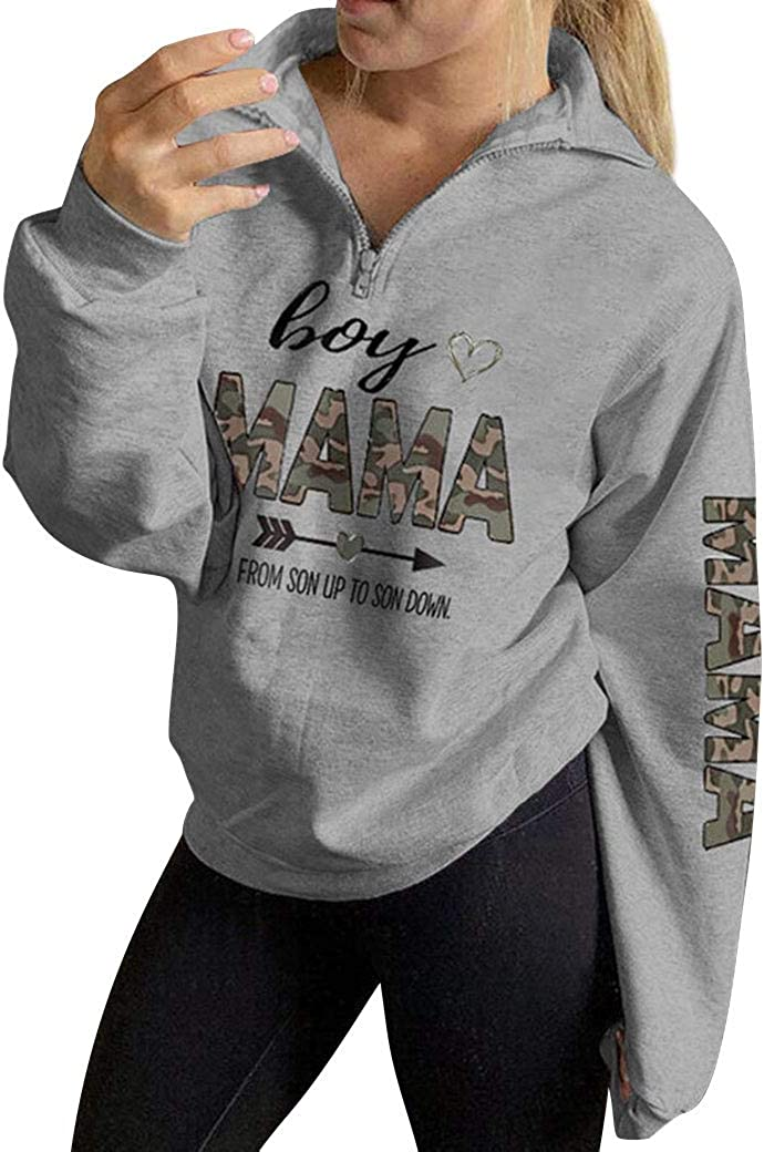 ZXZY Womens Mama Sweatshirt Boy Mama Zip Up Pullover Plus Size Tops Shirts