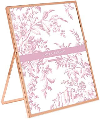 Laura Ashley 8x10 Rose Gold Flat Metal Picture Frame (Vertical) with Pull-Out Easel Stand, Made for Tabletop, Counterspace, Shelf and Desk