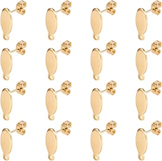 PandaHall Elite 20 Sets(10 Pairs) 304 Stainless Steel Oval Earring Studs Ear Pin Ball Post with Butterfly Earring Backs for Earring Making Findings Colden