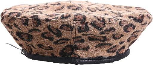 QBLEEV Vintage Leopard French Beret Hat Leather Edge Warm Beanies Women Winter