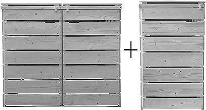Lukadria Mülltonnenbox Mülltonnenverkleidung Mülltonnecontainer Holz 120L - 240L vorimprägniert in hell-grau mit Rückwand ...