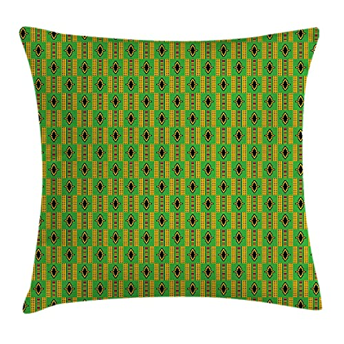 Funda de cojín de Ghana, diseño tradicional de Kente Cultural Country Colors Representativo, funda de almohada cuadrada decorativa, 45,72 x 45,72 cm, caléndula verde helecho