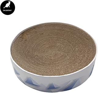 SAUWERAY Round Cat Scratch Board, Corrugated Paper Cat Paw Wear Toy, Beautiful Appearance, Space Saving, Puzzle Fitness Protection Furniture