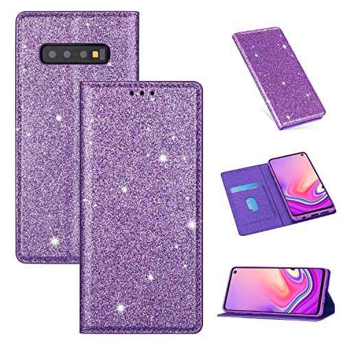 ZTOFERA Funkelnd Ledertasche für Samsung S10, Premium PU Leder Flip Brieftasche Tasche mit [Magnetverschluss] [Kickstand] [Kartensteckplatz] Superdünne Notebook Hülle für Samsung Galaxy S10-Lila