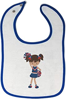 Custom Baby Bibs Burp Cloths Cheerleader Hand up S Cotton Baby Items for Baby Girl & Boy White Royal Blue Design Only