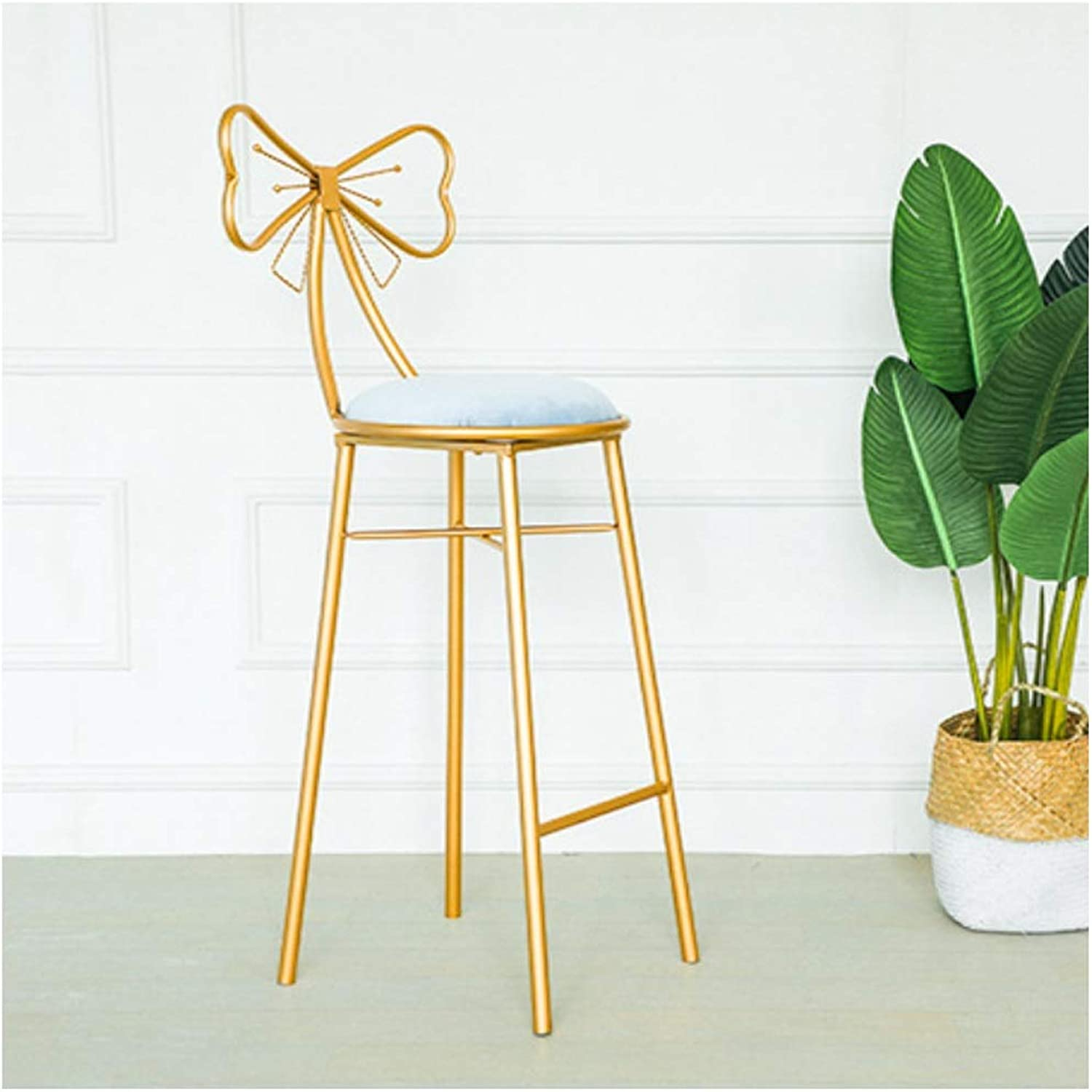 Simple Bar Stool European gold Wrought Iron Bar Stool Simple Family Tea Shop Bar Stool Creative High Stool Bow Backrest Cafe Restaurant for Kitchen Or Bar (color   bluee Suede, Size   65CM)