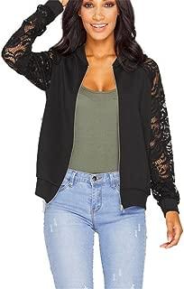 JESPER Womens Long Lace Sleeve Short Bomber Jacket Coat Blazer Suit Casual Outwear