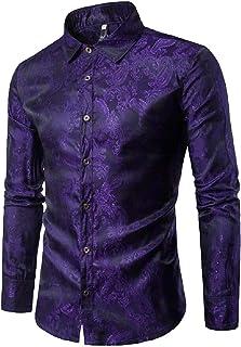 Men Paisley Shirt Long Sleeve Dress Shirt Button Down Slim Fit Shirt