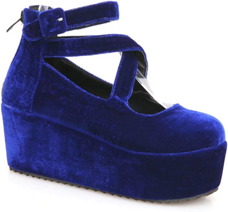KingRover Women's Gotik Platform Wedge Cross Strap High Heels Loafers shoes
