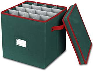 Primode Holiday Ornament Storage Box, 4 Layers, Fits 64 Ornaments Balls, Constructed of Durable 600D Oxford Material Green