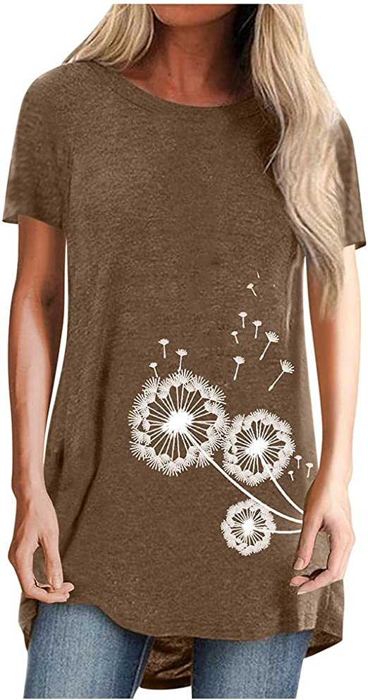 Short Sleeve Tunics for Women to Wear with Leggings Ovsesized Summer Dandelion Print Crewneck T Shirt Tops