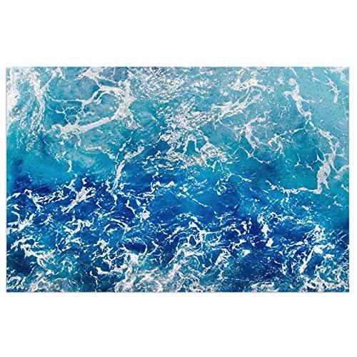 FFLSDR Felpudo Azul océano Olas mar Puesta de Sol Alfombrillas de Entrada Alfombrilla de PVC Alfombra Lavable Alfombra de Bienvenida Alfombra 40X60 CM