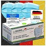 Medizinischer OP Mund Und Nasenschutz Maske (MADE IN GERMANY) Typ IIR (CE Zertifiziert) DIN EN 14683 (40 Stück) Mundschutz Masken Einwegmaske Gesichtsmaske Schutzmaske