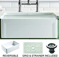 """Empire Industries OL30G Olde London Reversible Farmhouse Fireclay Kitchen Sink with Grid and Strainer, 30"""", White"""