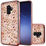 Samsung Galaxy S9 Plus Phone Case Accessory Elegant Rose Gold Remarkable Frozen Glitter Design with Electroplated Chrome Edges Cover Aplus Pouch