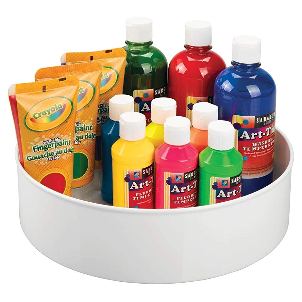 mDesign Plastic Spinning Lazy Susan Turntable Storage Tray - Rotating Organizer for Craft, Sewing, Hobby, Art Supplies Stored in Home, Classroom or Studio - 11.5