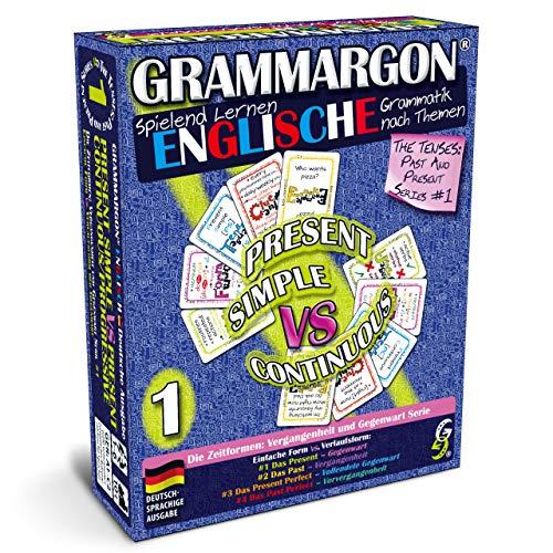 GRAMMARGON® Spielend Lernen Englische Grammatik nach Themen: Present Simple VS Present Continuous/Progressive | unterhaltsames Kartenspiel zum Lernen der englischen Sprache für Kinder & Erwachsene