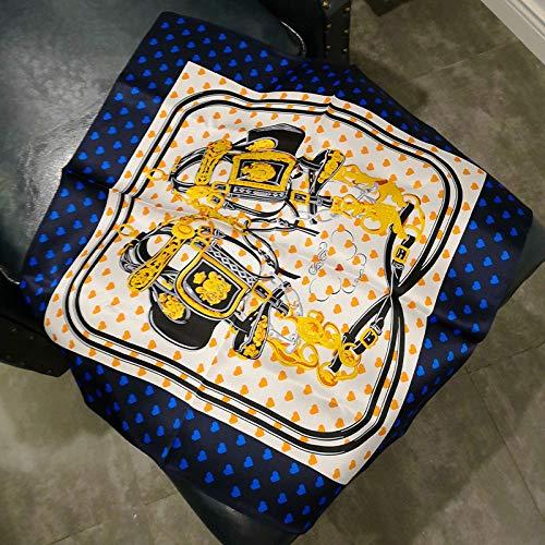 Sjaal voor dames, vierkant, vintage, elegant, temperament, eenvoudige vakantie, cadeau, ademend blauw