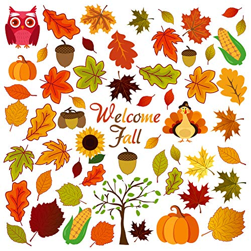 FRIDAY NIGHT Thanksgiving Fall Autumn Leaves Acorns Window Sticker Thanksgiving Decorations Reusable Autumn Party Supplies Double Side Printing(58 Pcs)