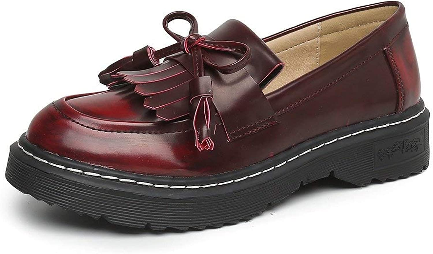 A-LING Womens Leather Slip on Flat Oxfords shoes Fringe Low Heel Loafers shoes