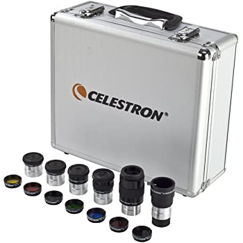 "Celestron – 1.25"" Eyepiece and Filter Accessory Kit – 14 Piece Telescope Accessory Set – Plossl Telescope Eyepiece – Barlow Lens – Colored Filters – Moon Filter – Sturdy Metal Carry Case"